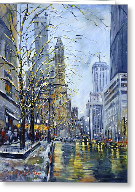 North Michigan Avenue Greeting Card by Alexandra Maria Ethlyn Cheshire