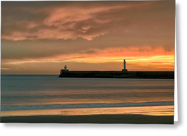 North Pier Dawn Greeting Card by Dave Bowman