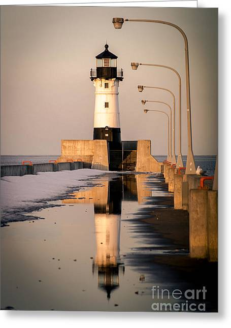Greeting Card featuring the photograph North Pier Sunset Melt by Mark David Zahn Photography