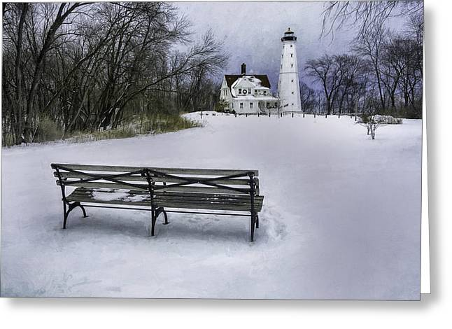 North Point Lighthouse And Bench Greeting Card by Scott Norris