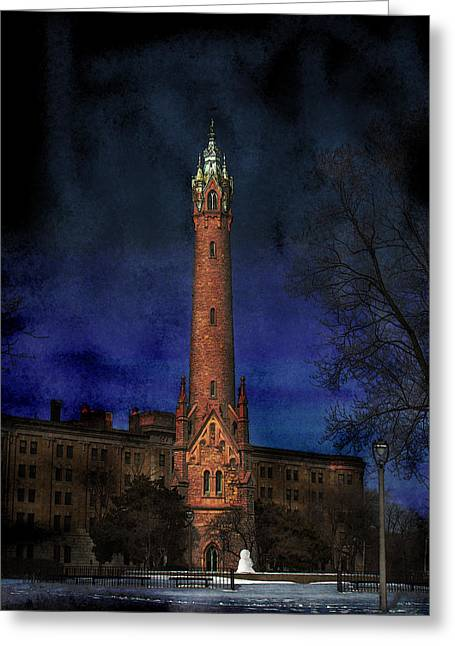 North Point Water Tower Greeting Card by David Blank