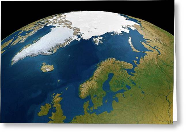 North Pole From Space Greeting Card by Mikkel Juul Jensen