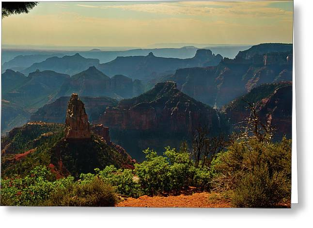 Greeting Card featuring the photograph North Rim Grand Canyon Imperial Point by Bob and Nadine Johnston