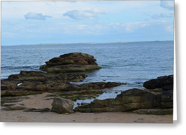 North Sea By The Rocks Greeting Card by Karen Kersey