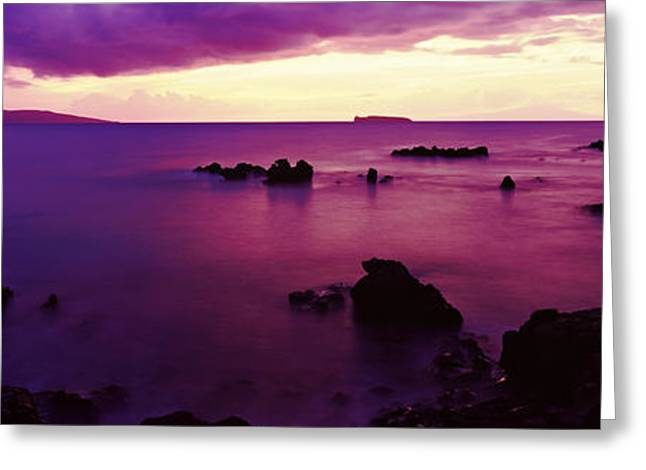 North Shore At Purple Sunset, Maui Greeting Card by Panoramic Images