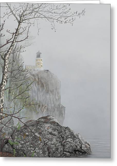 North Shore Lighthouse In The Fog Greeting Card
