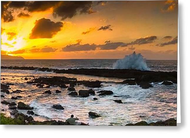 North Shore Sunset Crashing Wave Greeting Card