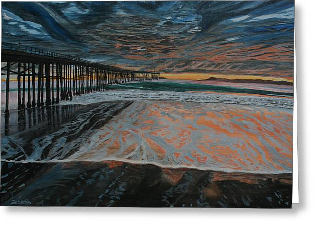 Greeting Card featuring the painting North Side Of The Ventura Pier by Ian Donley