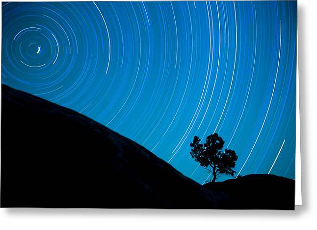 North Star And Earth's Rotation Greeting Card by Geoffrey Baker