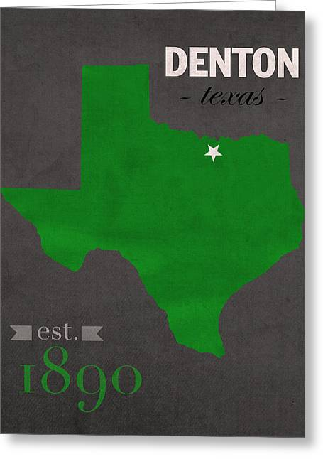 North Texas University Mean Green Denton College Town State Map Poster Series No 078 Greeting Card