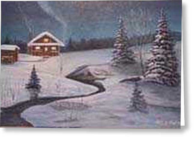 North Woods Cabin Greeting Card by Rick Huotari