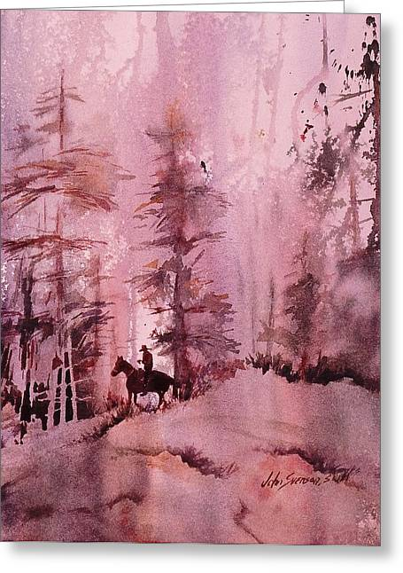 Greeting Card featuring the painting North Woods by John  Svenson