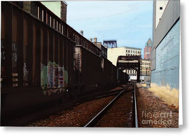 Northbound Freight To Milwaukee Greeting Card by David Blank