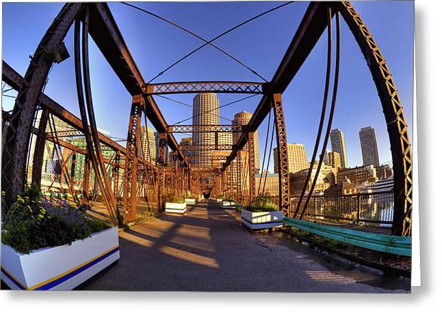 Northern Avenue Bridge Greeting Card by Joann Vitali