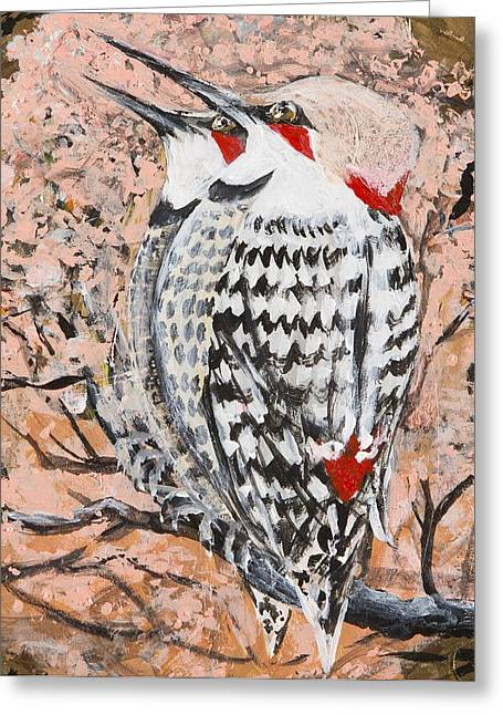 Greeting Card featuring the painting Northern Flickers by Cathy Long
