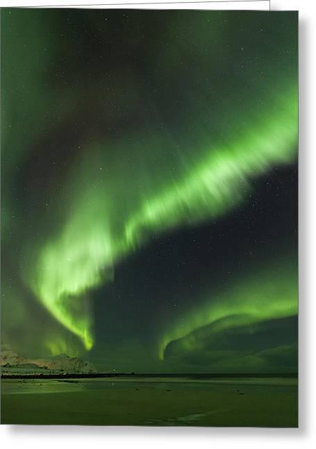 Northern Lights Lofoten Islands Norway Greeting Card by Sandra Schaenzer