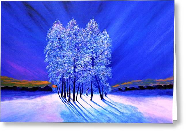 Northern Lights Moody Spruce Tree Shadows Greeting Card