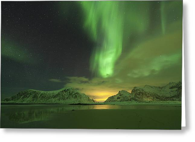 Northern Lights With Light Pollution Greeting Card by Sandra Schaenzer