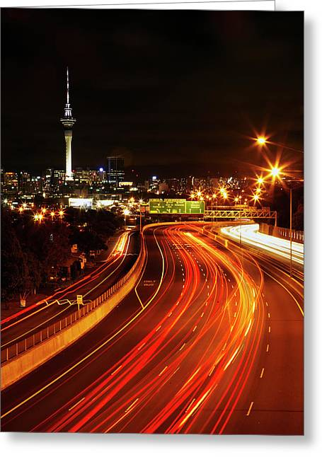 Northern Motorway And Skytower Greeting Card by David Wall