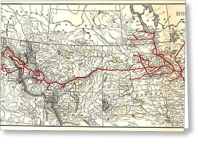 Northern Pacific Railway Map  1900 Greeting Card