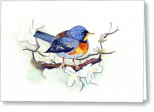 Greeting Card featuring the painting Northern Parula by Katherine Miller