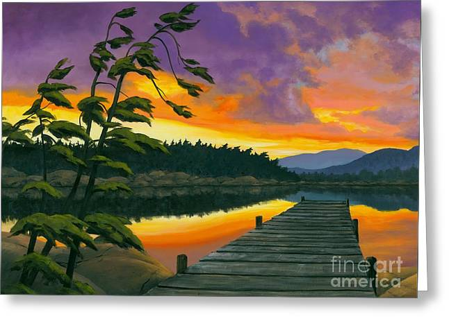 Greeting Card featuring the painting After Glow - Oil / Canvas by Michael Swanson