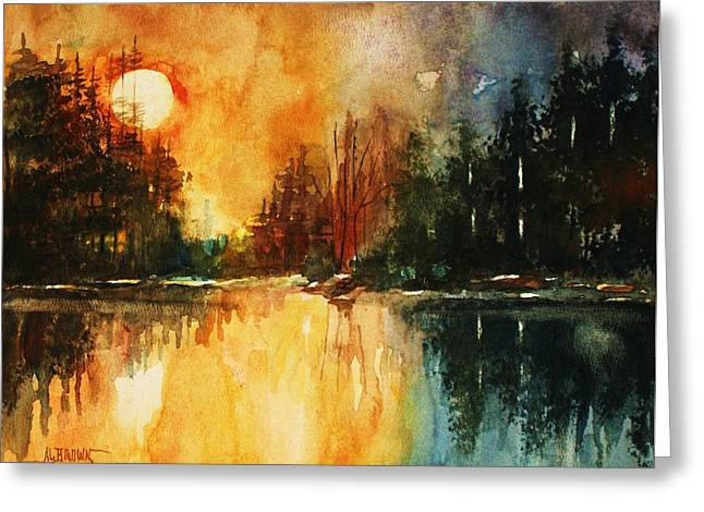 Greeting Card featuring the painting Northern Sunset by Al Brown