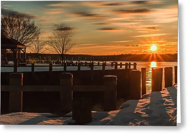 Northport New York Winter Sunset Greeting Card