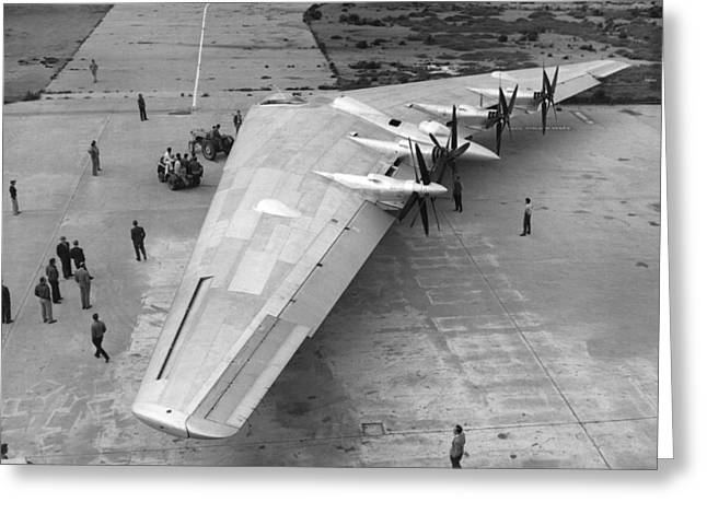 Northrop's Flying Wing Bomber Greeting Card by Underwood Archives
