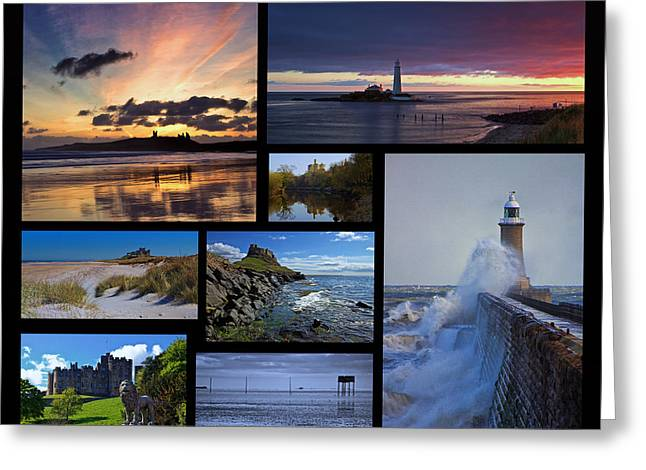 Northumbrian Castles And Coast Greeting Card by David Pringle