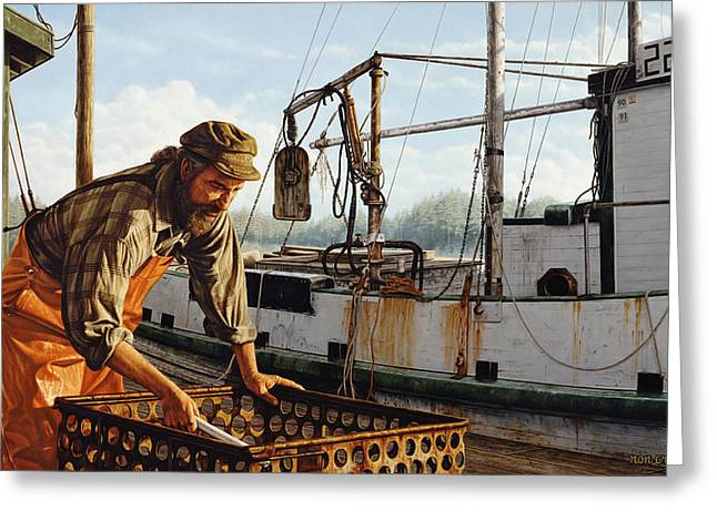 Greeting Card featuring the painting Northwest Fisherman by Ron Crabb