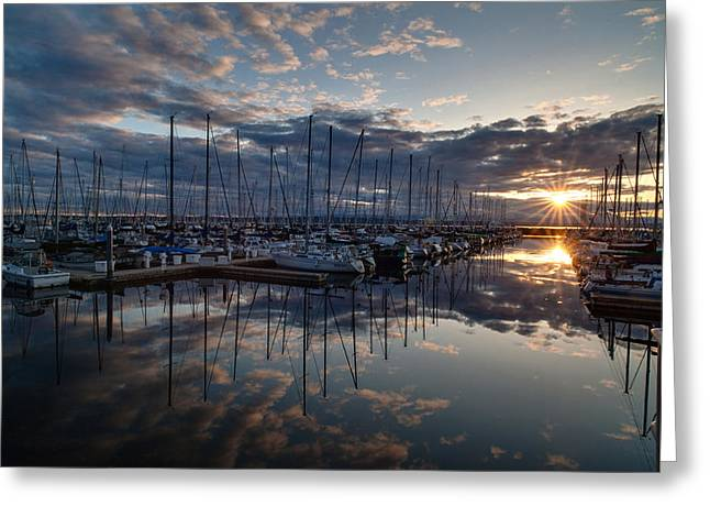 Northwest Marina Sunset Sunstar Greeting Card by Mike Reid