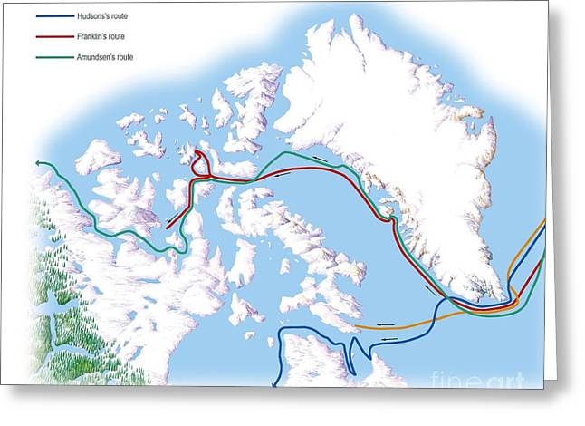 Northwest Passage, Historical Routes Greeting Card by Gary Hincks