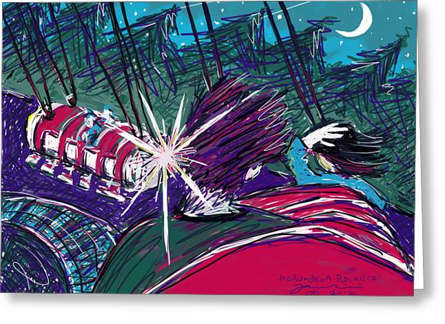 Greeting Card featuring the painting Norumbega Rockets by Jean Pacheco Ravinski