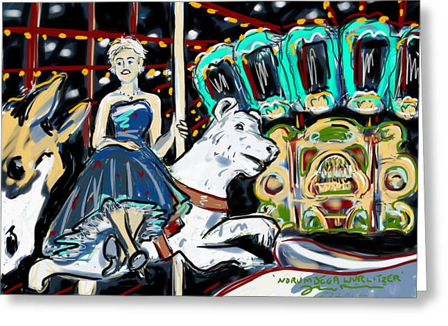 Greeting Card featuring the painting Norumbega Wurlitzer by Jean Pacheco Ravinski