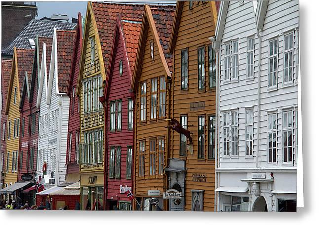 Norway, Bergen Warehouse Architecture Greeting Card by Kymri Wilt