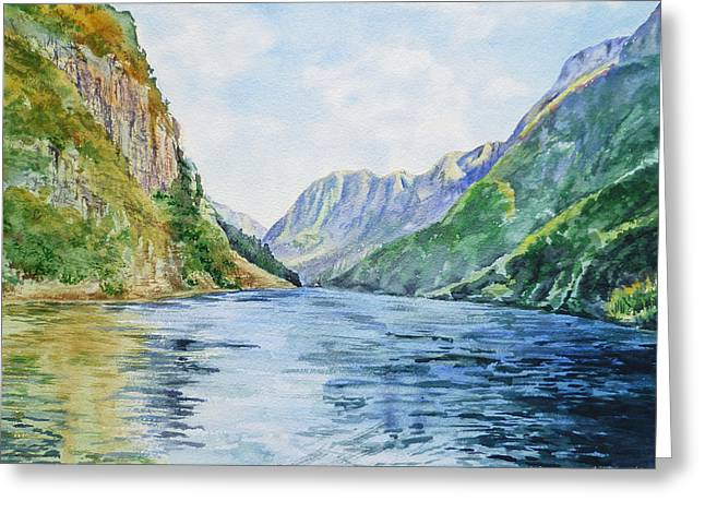 Greeting Card featuring the painting Norway Fjord by Irina Sztukowski