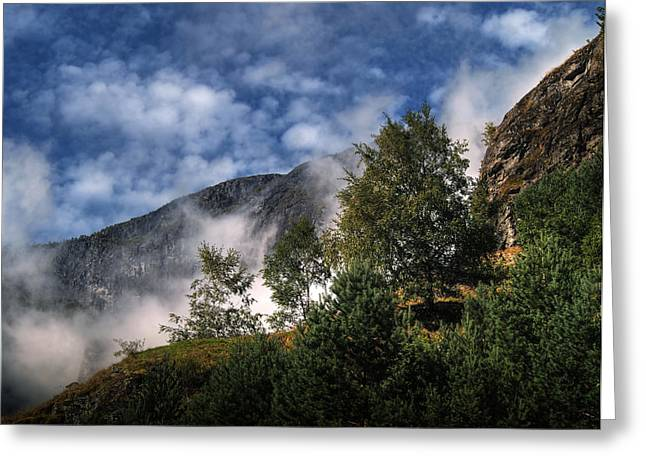 Greeting Card featuring the photograph Norway Mountainside by Jim Hill
