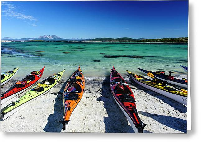 Norway Sea Kayaks On A Coral-sand Beach Greeting Card by Fredrik Norrsell