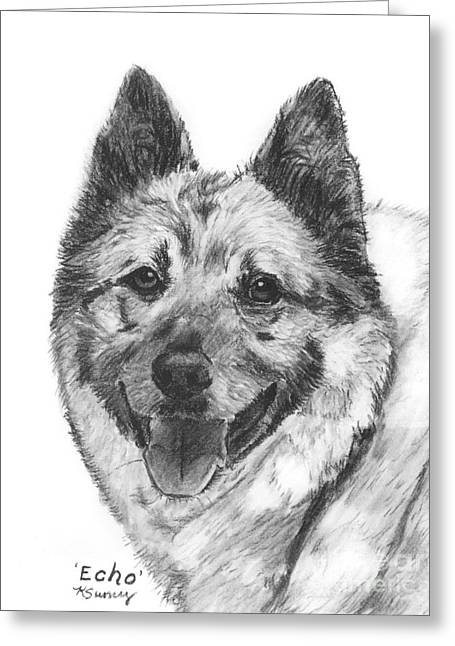 Norwegian Elkhound Sketch Greeting Card by Kate Sumners