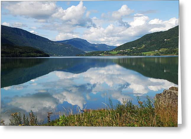 Norwegian Fjord Reflections Greeting Card