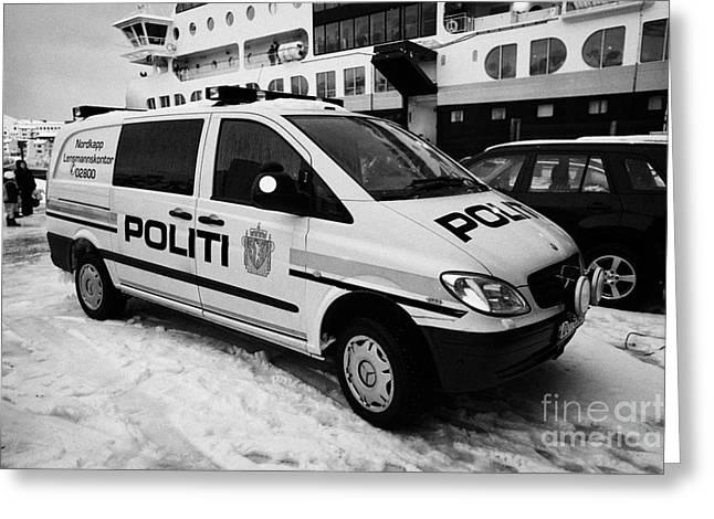 Norwegian Police Vehicle Outside Nordkapp Police Station Honningsvag Finnmark Norway Europe Greeting Card