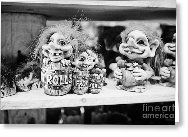Norwegian Trolls Souvenirs For Sale In A Gift Shop Norway Greeting Card
