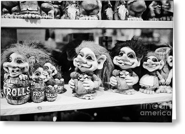 norwegian trolls souvenirs for sale in a gift shop Tromso troms Norway europe Greeting Card