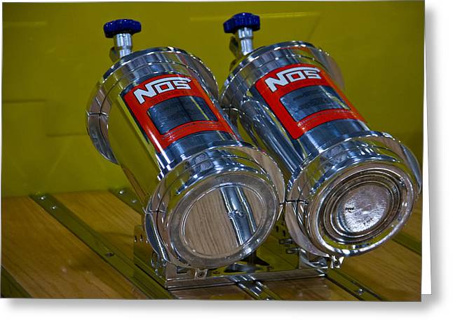 Nos Bottles In A Racing Truck Trunk Greeting Card by Eti Reid