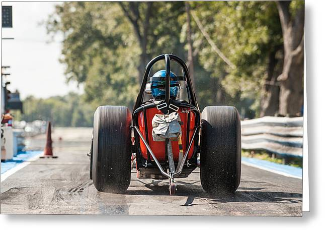 Nostalgia Front Engine Dragster Burnout Greeting Card