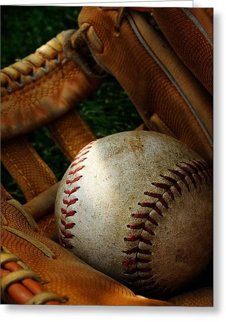 Nostalgic Baseball And Glove Greeting Card by Norman Pogson