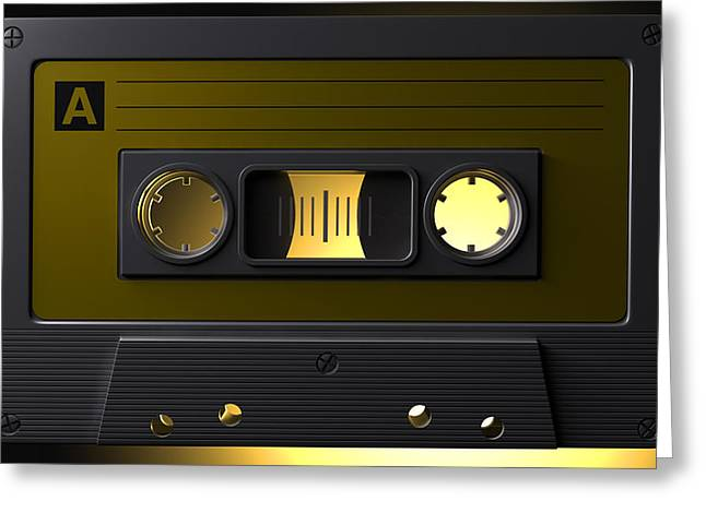 Nostalgic Macro Cassette Tape Greeting Card by Allan Swart