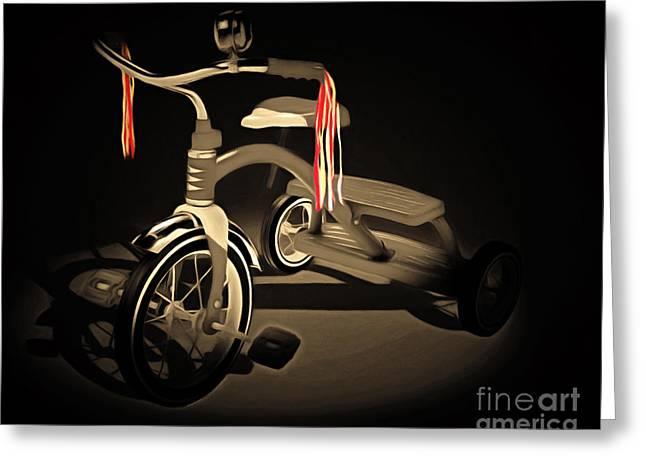 Nostalgic Vintage Tricycle 20150225 Sepia Greeting Card
