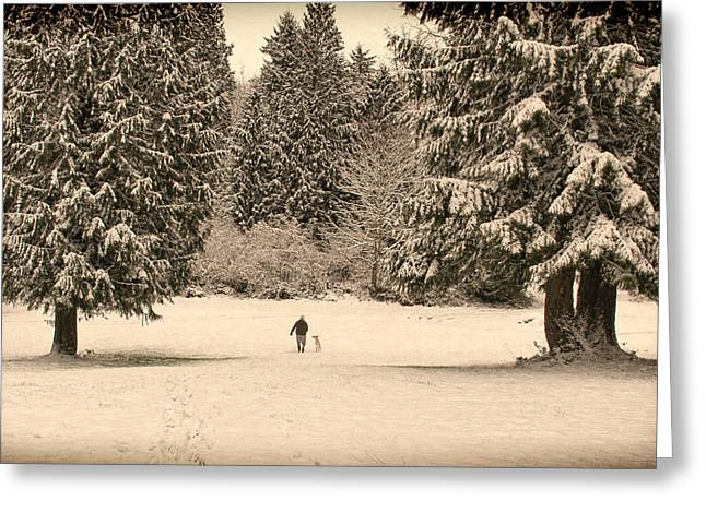 Nostalgic Winter Walk In The Snow Greeting Card by Jennie Marie Schell